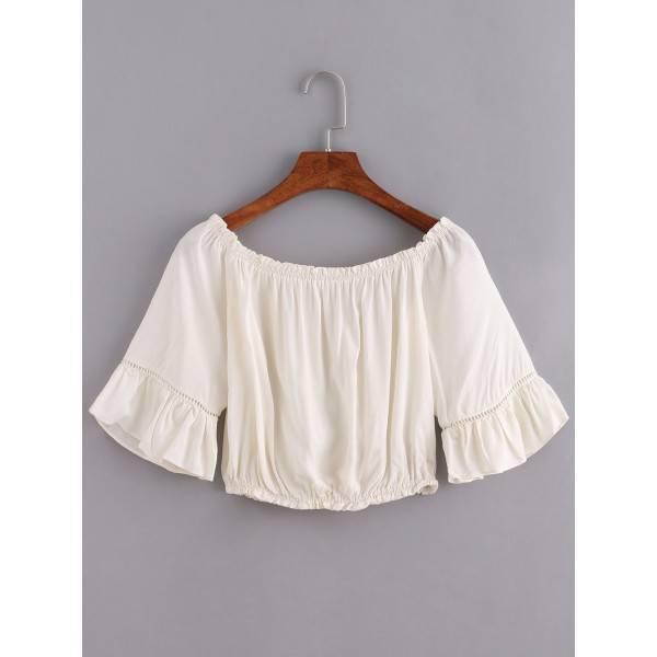 Beige Off Shoulder Ruffle Bell Sleeves Bohemian Top Blouse