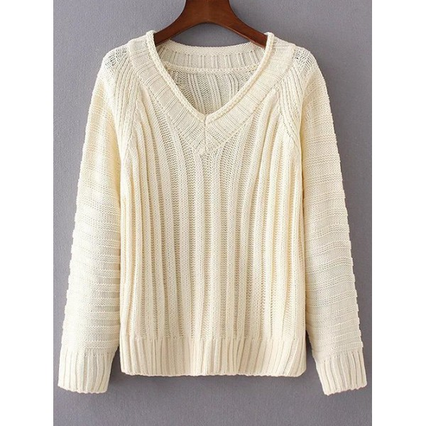 Beige V Neck Ribbed Loose Long Sleeves Sweater