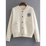 Beige Varsity Logo Embroidered Bomber Jacket Coat