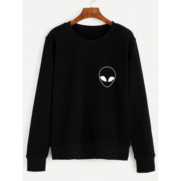 Black Alien Print Long Sleeve Crew Neck Sweatshirt