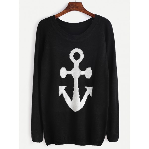 Black Anchor Sailor Raglan Sleeve Sweater