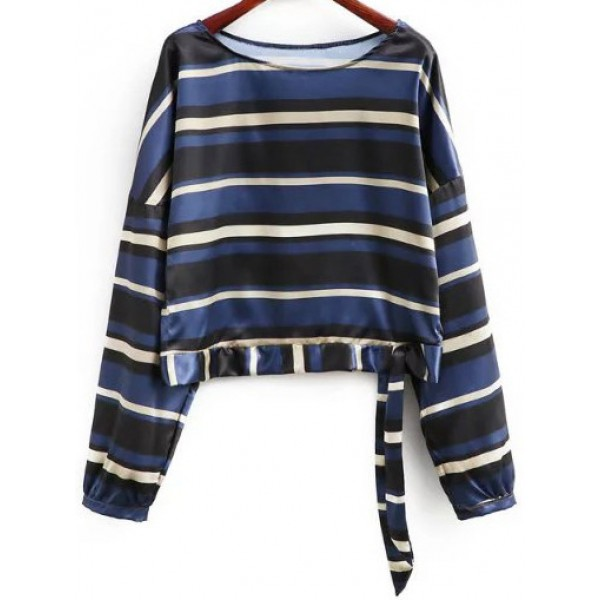 Black Blue Multicolor Stripes Print Tie Blouse