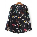 Black Colorful Boots Heels Shoes Print Button Up Shirt Blouses
