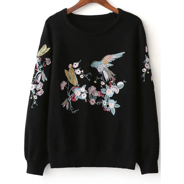 Black Colorful Flower Bird Embroidery Loose Sweater