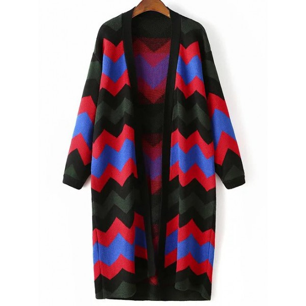 Black Colorful Wave Zig Zag Pattern Collarless Long Cardigan Coat