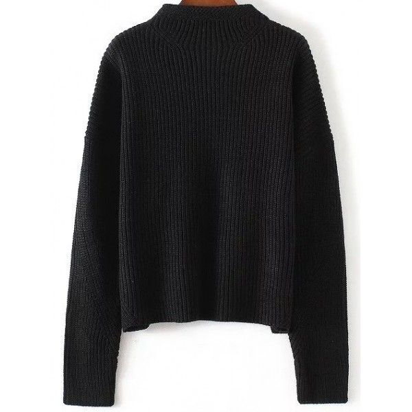 Black Crew Round Neck Loose Shoulder Sweater Knitwear