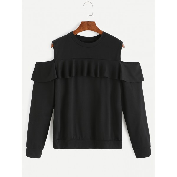 Black Cut Out Shoulder Sexy Ruffle Sweatshirt