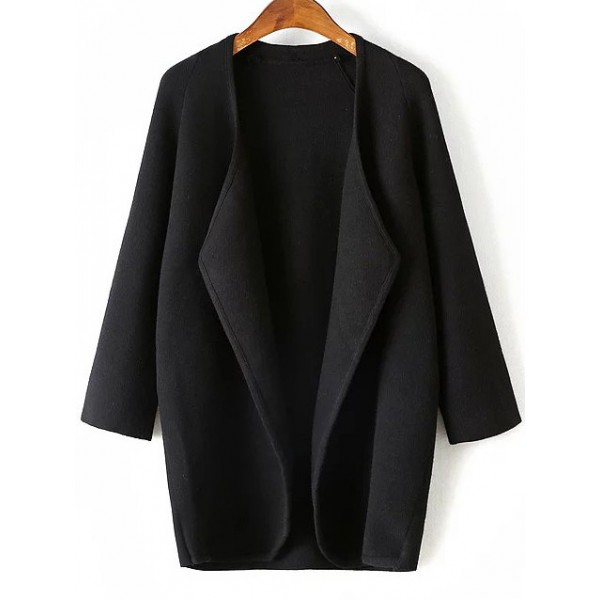 Black Draped Collar Formal Long Sleeve Long Cardigan Jacket