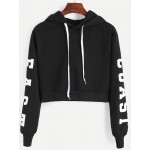 Black East Coast Hooded Hoodie Cropped Long Sleeves Sweatshirt