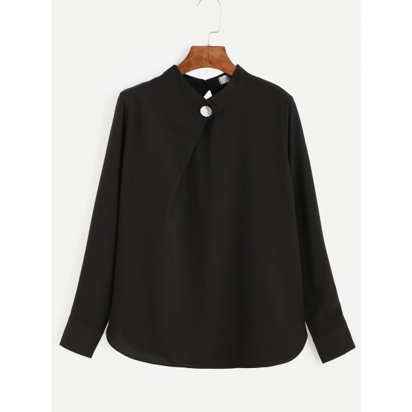 Black Elegant Long Sleeves Chiffon Shirt Blouse Top