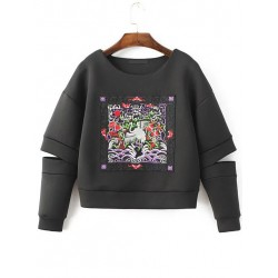 Black Embroidered Totem Cut Out Long Sleeves Sweatshirt