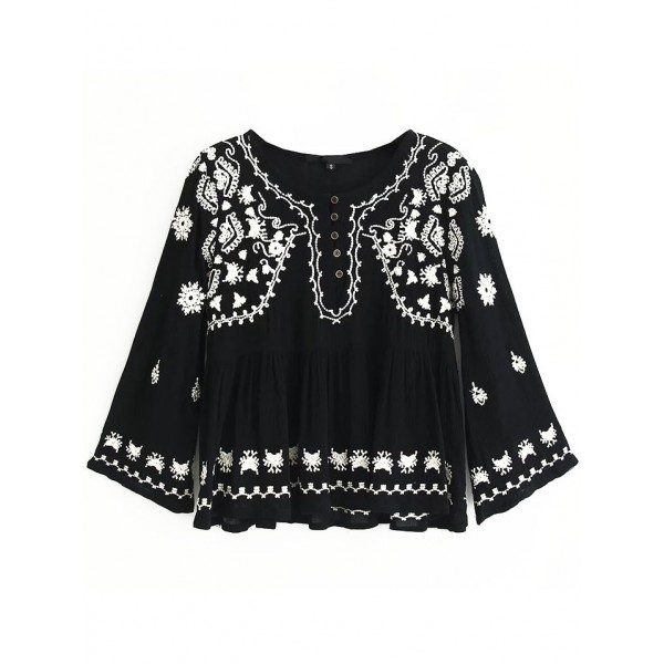 Black Embroideried Bohemia Florals Pattern Top Blouse