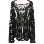 Black Embroideried Bohemia Sheer Lace Layering Blouse Shirt