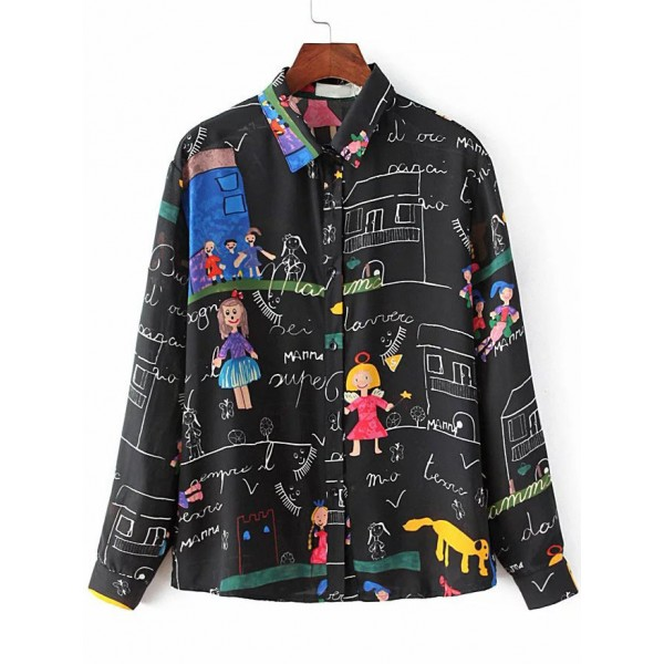 Black Fairy Tale Cartoon Long Sleeves Button Up Blouse