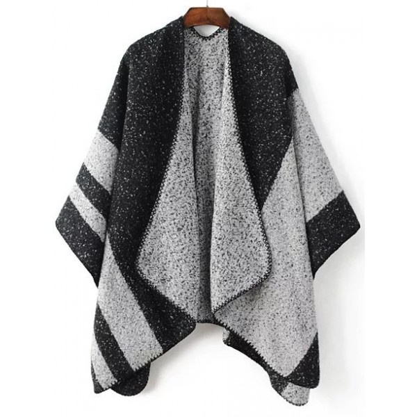 Black Grey Contrast Color Loose Poncho Sweater