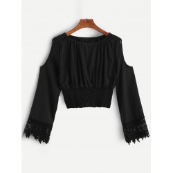 Black Hollow Out Open Shoulder Crochet Cropped Blouse