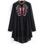 Black Long Sleeves Embroidered Flowers Vintage Shirt Blouse