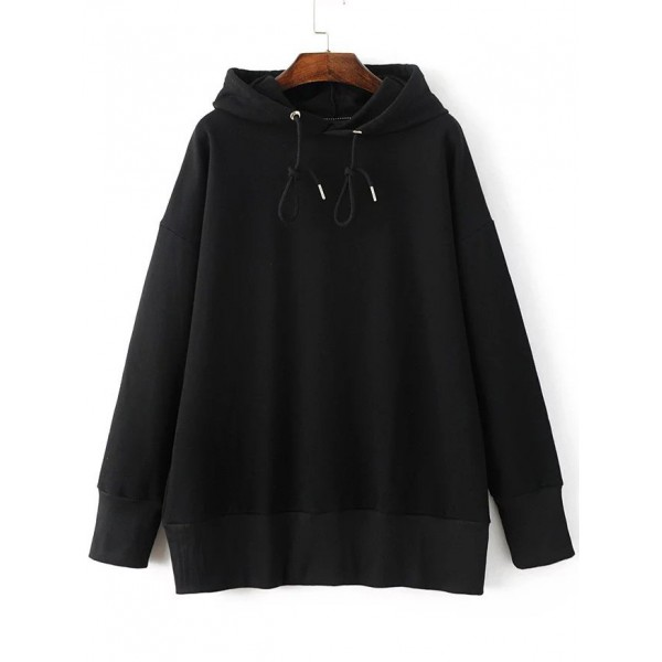 Black Long Sleeves Hoodie Hooded Loose Sweatshirt