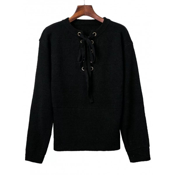 Black Long Sleeves Tied Lace Up Sweater