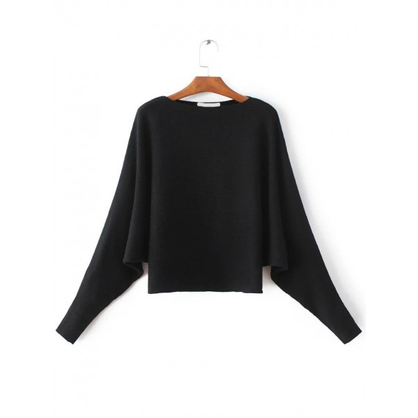 Black Loose Round Neck Long Sleeves Sweater
