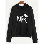 Black MR Hooded Hoodie Crew Neck Long Sleeves Sweatshirt