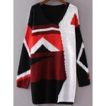 Black Orange  White Block V Neck Loose Long Sweater