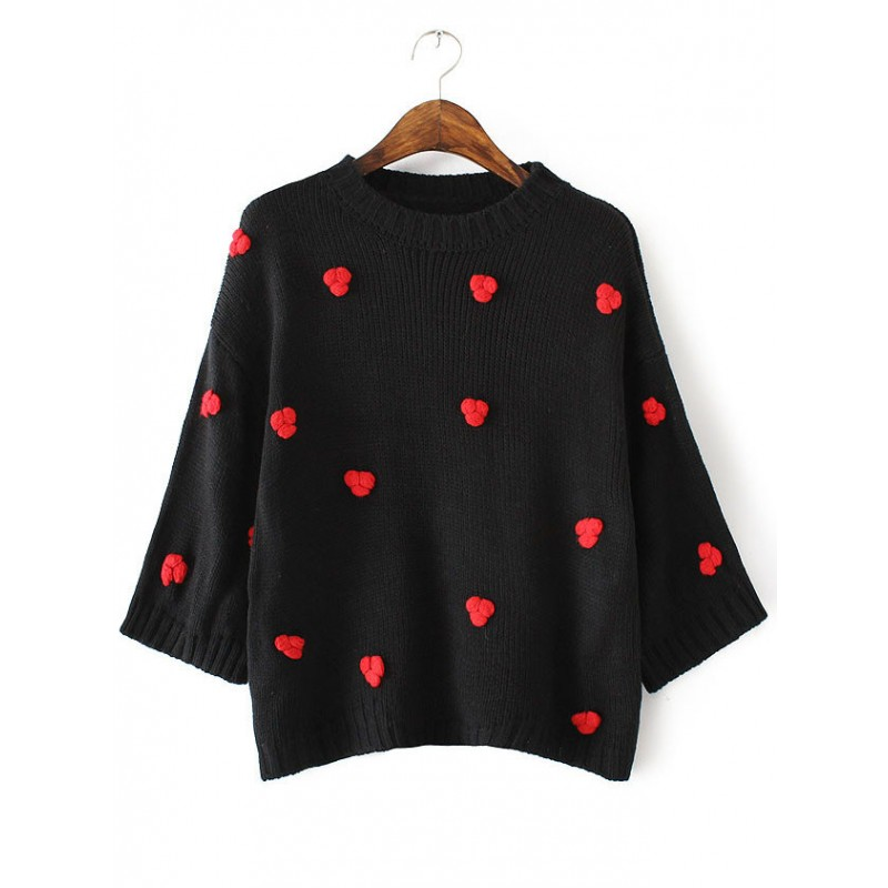 Black Red Roses Flower Embellished Loose Sweater