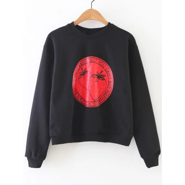 Black Red Strawberry Can't Buy Happiness Long Sleeves Sweatshirt