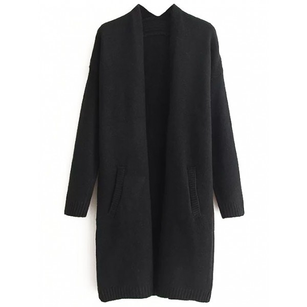 Black Ribbed Front Pocket Long Sweater Winter Coat