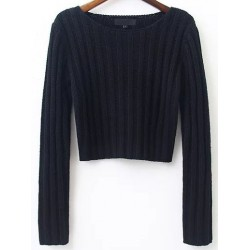 Black Ribbed Lines Round Neck Long Sleeves Sweater