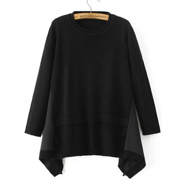 Black Round Neck Asymmetrical Hem Sweater
