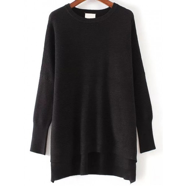 Black Round Neck High Low Long Sweater Knitwear