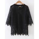 Black Sheer Crochet Lace Mid Sleeves Blouse