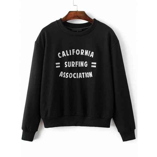 Black Surfing Embroidered Long Sleeves Sweatshirt