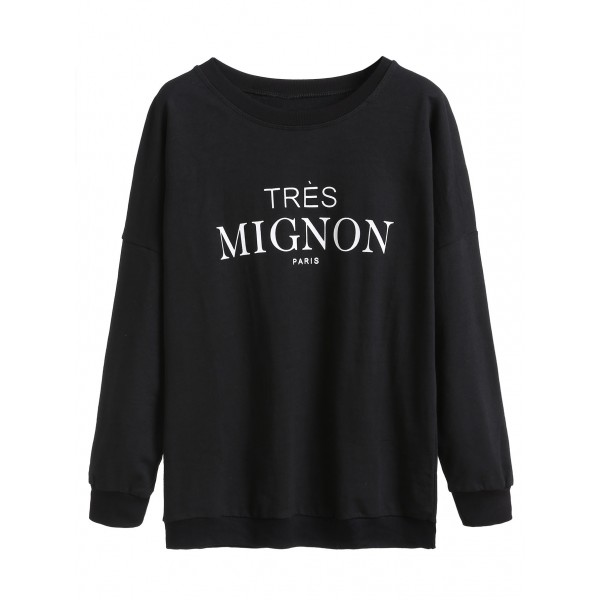Black Tres Mignon Long Sleeves Crew Neck Sweatshirt