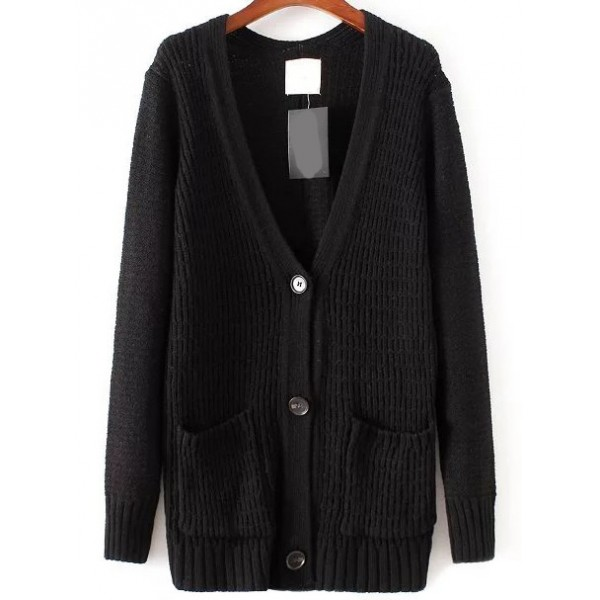 Black V Neck Front Pocket Coat Cardigan