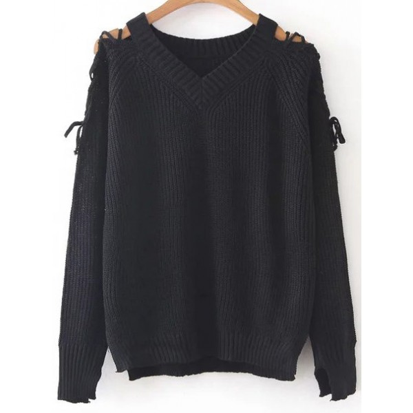 Black V Neck Lace Up Long Sleeves Winter Sweater