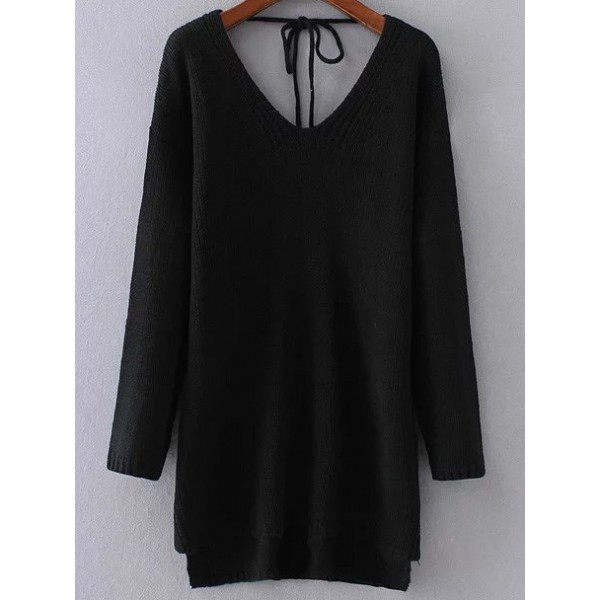 Black V Neck Tie Back Loose Long Sleeves Sweater