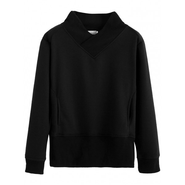 Black V Wrap Neck Long Sleeves Sweatshirt