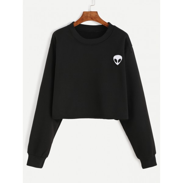 Black White Alien Embroidered Long Sleeves Cropped Sweatshirt