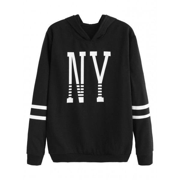 Black White New York Striped Hooded Hoodie Sweatshirt
