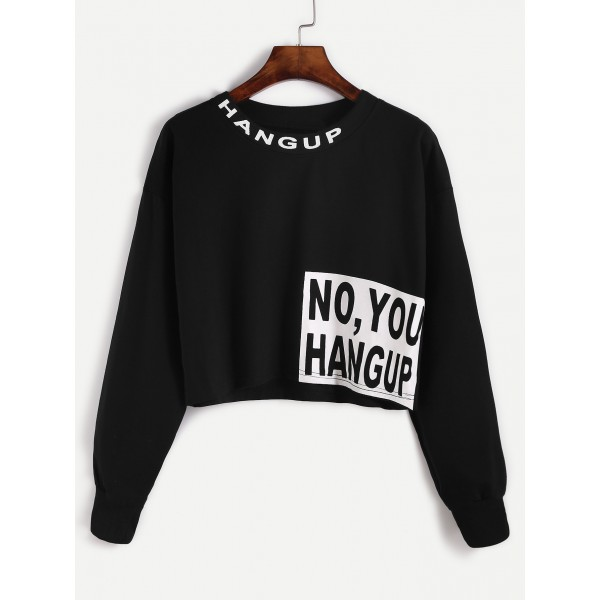 Black White No You Hang Up Long Sleeves Cropped Sweatshirt