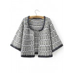 Black White Open Front ound Neck Sweater Coat