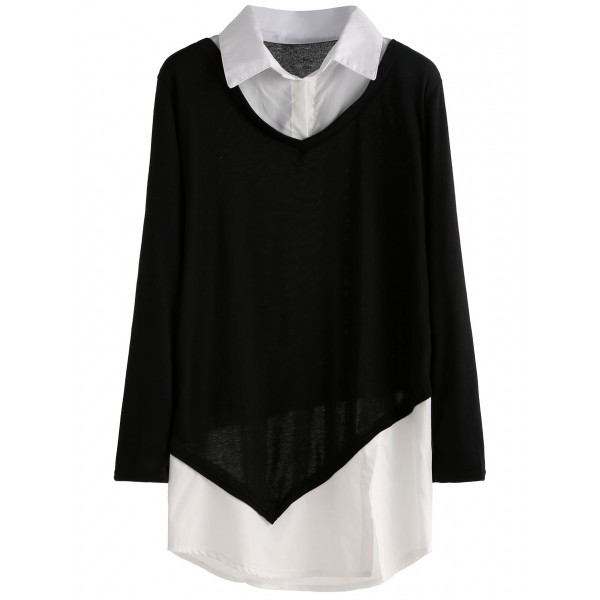 Black White Split Front 2 Layer Shirt Long Sleeves Blouse