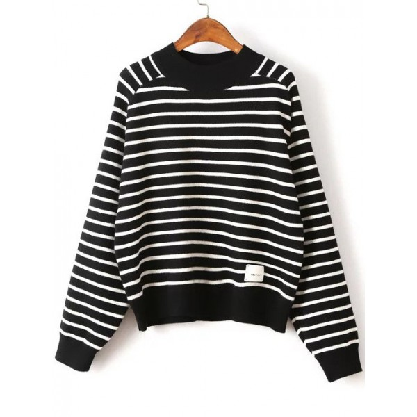 Black White Striped Contrast Crew Neck Batwing Sleeves Sweater