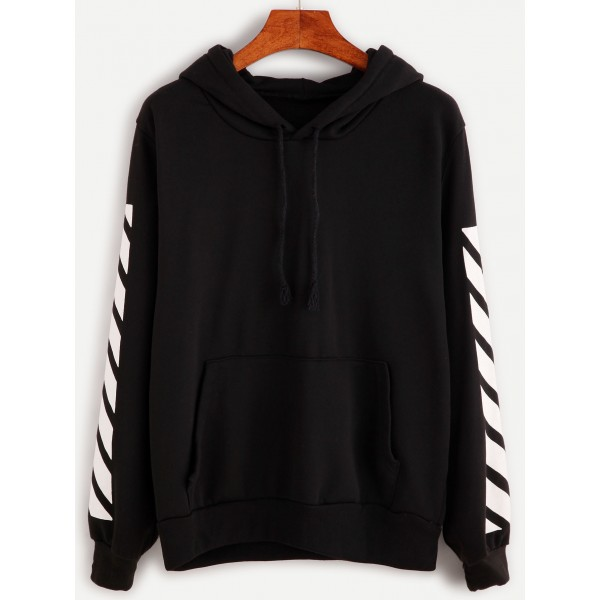 Black White Stripes Hoodie Hooded Sweatshirt