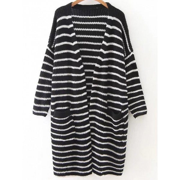 Black White Stripes Lines Drop Shoulder Winter Long Cardigan