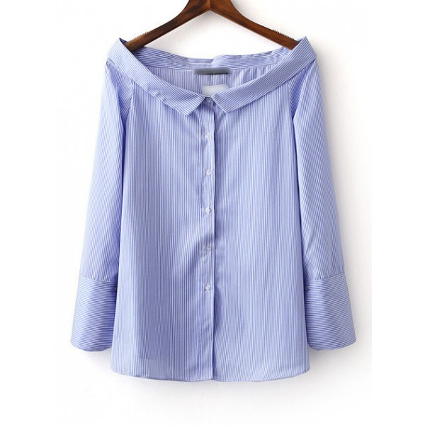 Blue Buttons Up Front Long Sleeve Shirt Blouse