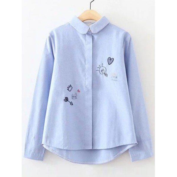 Blue Cartoon Embroideried Peter Pan Collar Long Sleeves Blouse
