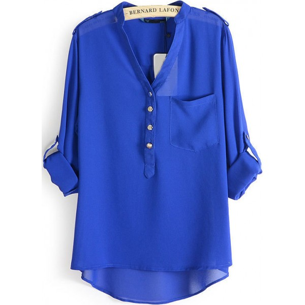 Blue Chiffon V Neck Hem Chiffon Shirt Top Blouse